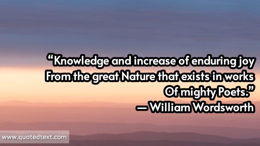 William Wordsworth quotes on knowledge