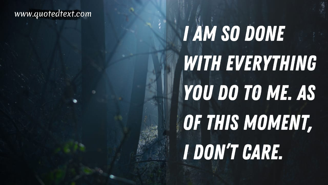 I don't care quotes on not caring status