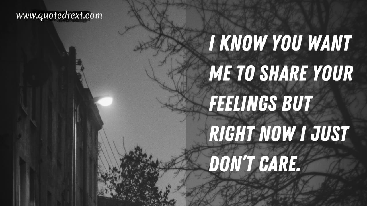 I don't care quotes to express feelings