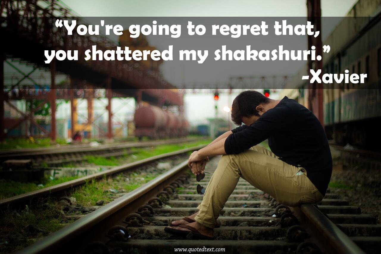 Xavier Renegade Angel Quotes on regret